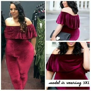 rebdolls Pants - Sexy Velvet Off Shoulder Ruffle Jumpsuit